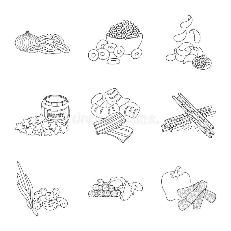 口味和嘎吱咬嚼的标志传染媒介设计  r 皇族释放例证