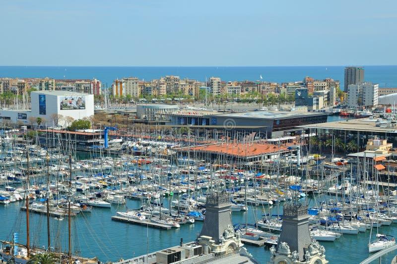 口岸的Vell小游艇船坞2009年4月13日在巴塞罗那 免版税图库摄影