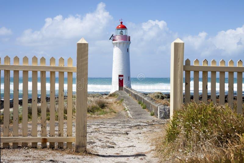 口岸神仙的灯塔, Griffiths海岛,大洋路 免版税库存图片