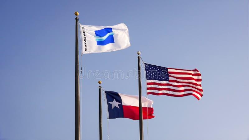口岸科珀斯克里斯蒂旗子飞行与美国国旗和得克萨斯状态旗子 库存照片