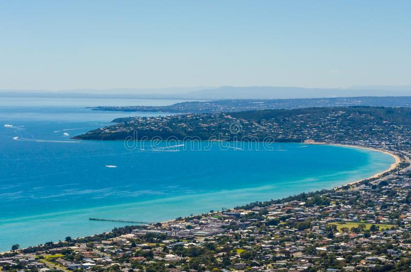 口岸腓力普海湾, Mornington半岛,维多利亚,澳大利亚 库存照片