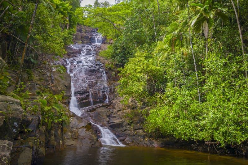 口岸Glaud瀑布,塞舌尔群岛 库存图片