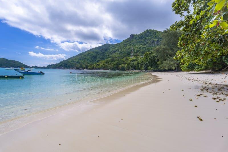 口岸Launay海岸公园,塞舌尔群岛 库存照片