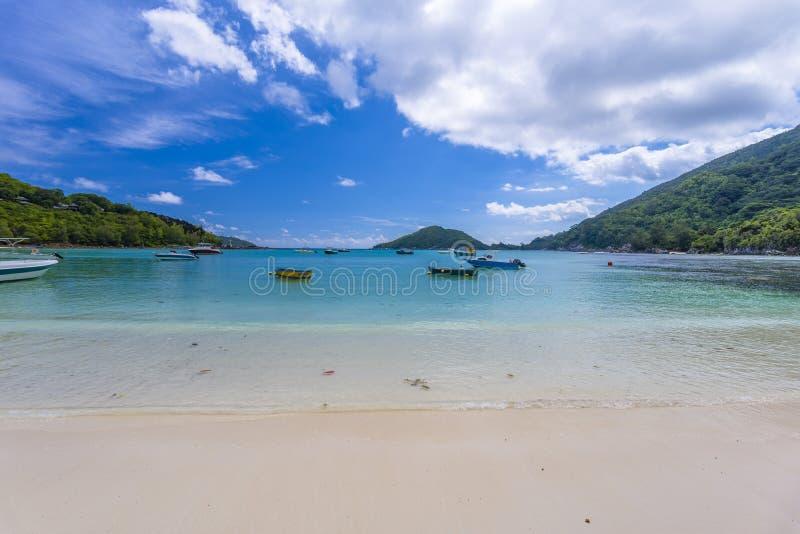 口岸Launay海岸公园,塞舌尔群岛 图库摄影