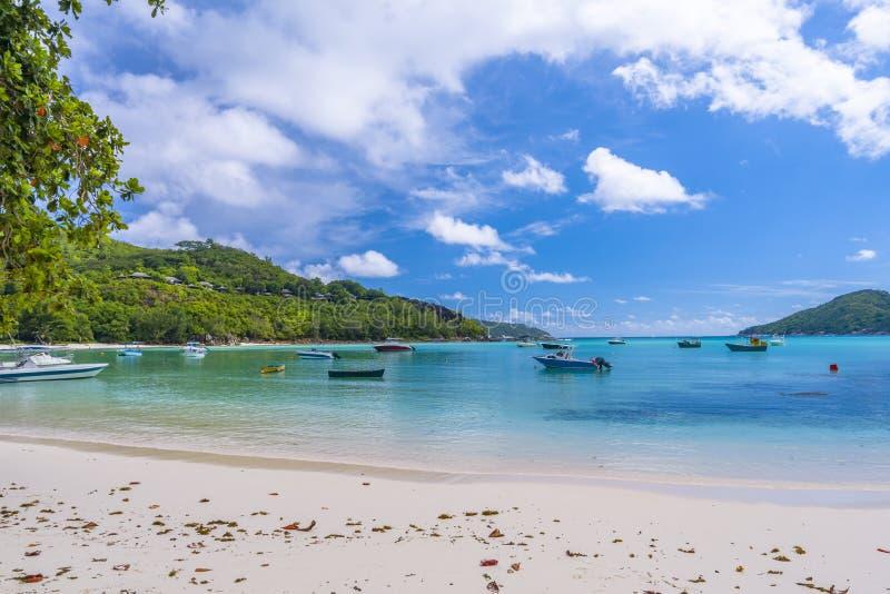 口岸Launay海岸公园,塞舌尔群岛 免版税图库摄影
