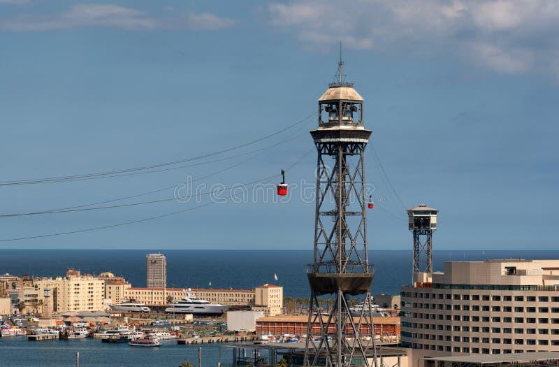 口岸Vell和巡航终端,巴塞罗那缆车塔  库存图片