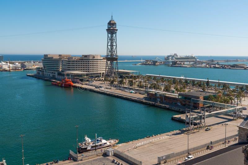口岸Vell和巡航终端,巴塞罗那鸟瞰图  库存照片