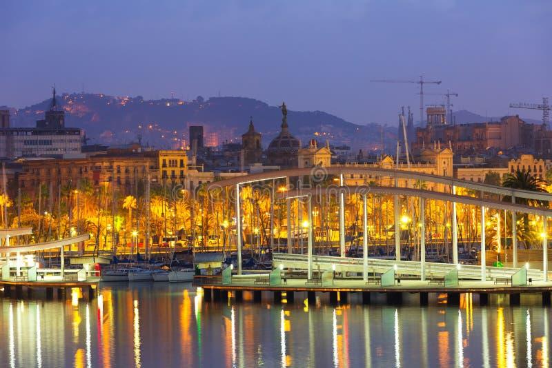 口岸Vell在巴塞罗那在早晨 卡塔龙尼亚 免版税库存图片