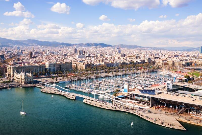 口岸Vell顶视图在巴塞罗那。卡塔龙尼亚,西班牙 库存照片
