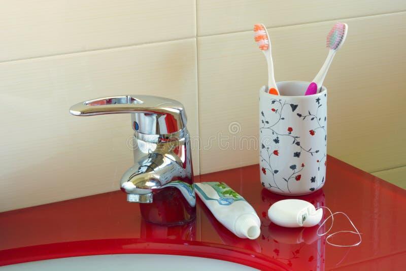 口腔卫生在家 库存图片
