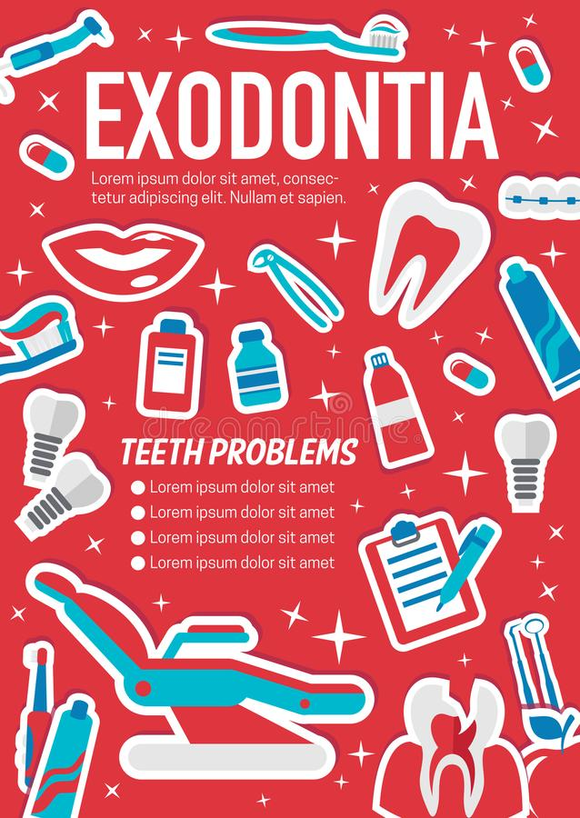 口腔外科exodontia医疗海报 皇族释放例证