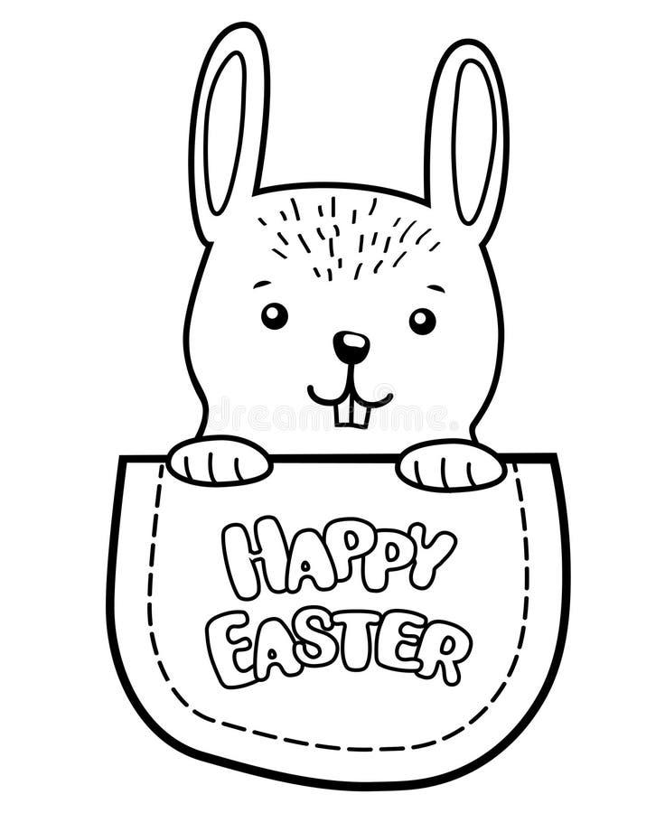 口袋复活节兔子 与全部赌注的幼稚印刷品T恤杉的 彩图的黑白传染媒介例证 皇族释放例证