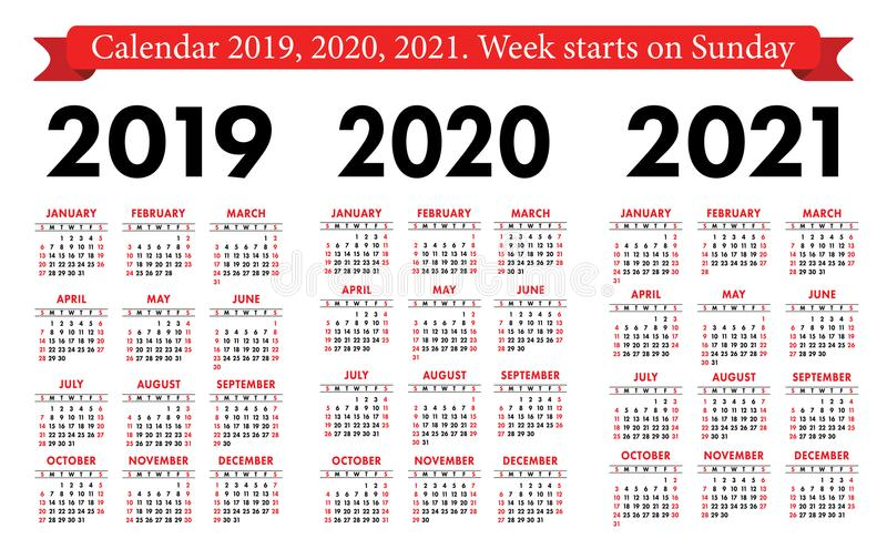 口袋日历2019年2020年, 2021集合 基本的简单的模板 在星期天,星期起始时间 免版税库存图片