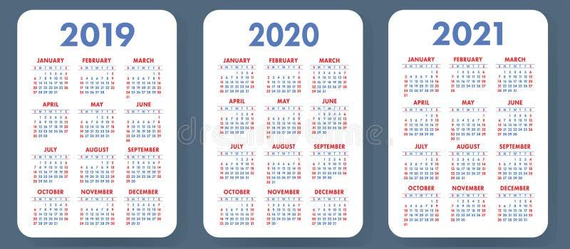 口袋日历2019年2020年, 2021集合 基本的简单的模板 极小 库存照片
