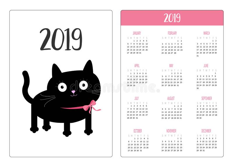 口袋日历2019年 星期星期天开始 婴孩黑色动画片猫图标例证宠物 逗人喜爱的滑稽的漫画人物 Kawaii动物 全部赌注小猫小宠物 皇族释放例证