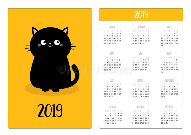 口袋日历2019年 星期星期天开始 恶意嘘声坐的象 逗人喜爱的滑稽的漫画人物 Kawaii动物 全部赌注小猫 皇族释放例证