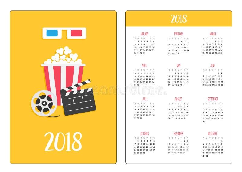 口袋日历2018年 星期星期天开始 3D纸红色蓝色玻璃 打开拍板电影卷轴玉米花戏院电影象 库存例证