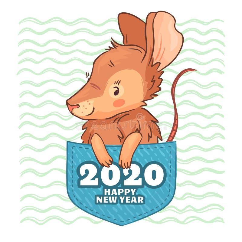 口袋鼠 新年快乐2020年,逗人喜爱的动画片鼠和囊鼠传染媒介例证 皇族释放例证
