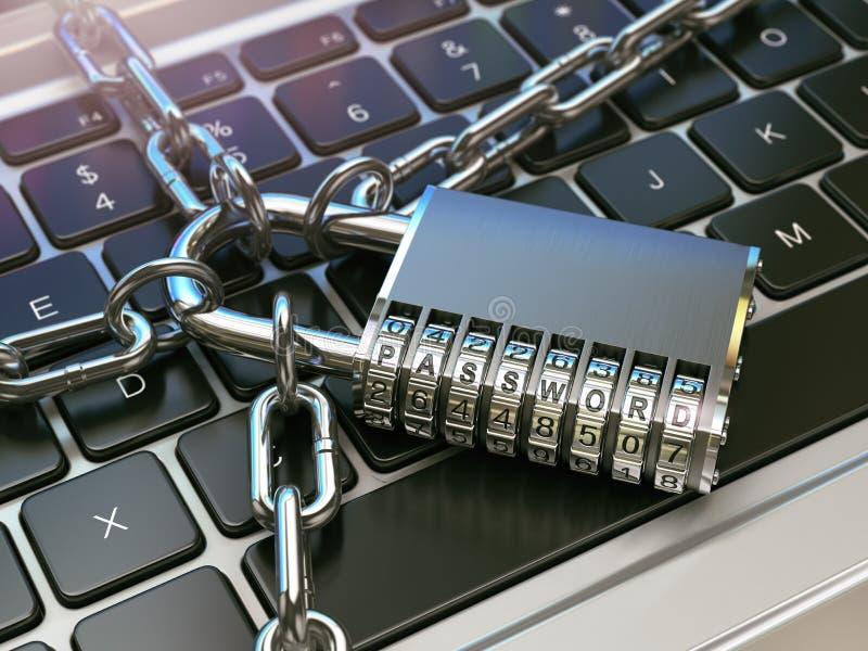 口令 计算机安全或安全概念 膝上型计算机键盘w 皇族释放例证