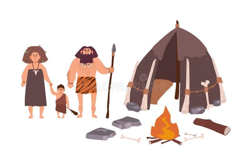 古代人、穴居人、原始人或者古体人家庭  站立在他们的住宅旁边的母亲、父亲和儿子 向量例证