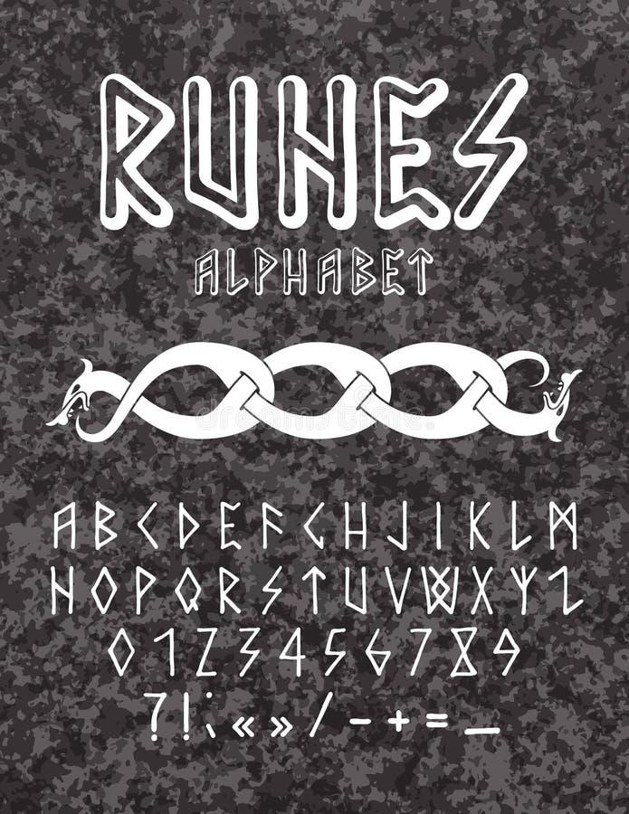 古代北欧文字的样式手拉的字母表 库存图片