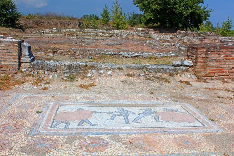 古体罗马时代马赛克发现了在希腊的古老戴恩 库存图片
