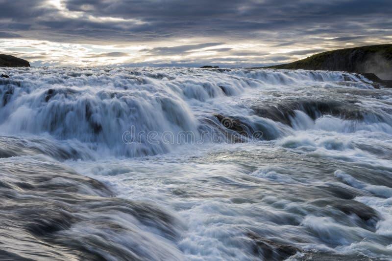 古佛斯瀑布下跌冰岛 免版税库存照片