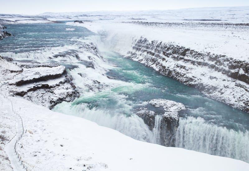 古佛斯瀑布或金黄瀑布在冬天 冰岛 免版税库存照片