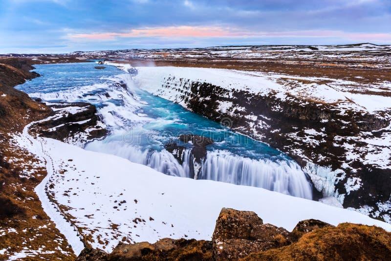古佛斯瀑布瀑布在冬天,冰岛 免版税库存照片