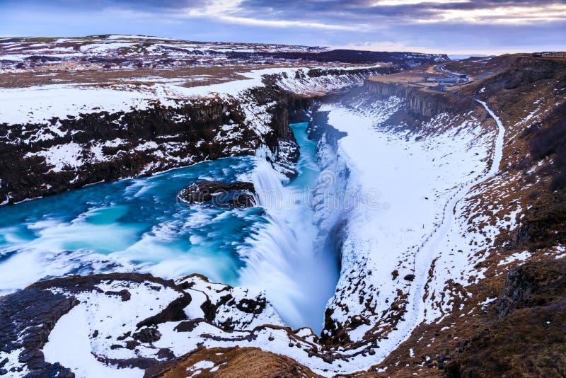 古佛斯瀑布瀑布在冬天,冰岛 免版税库存图片