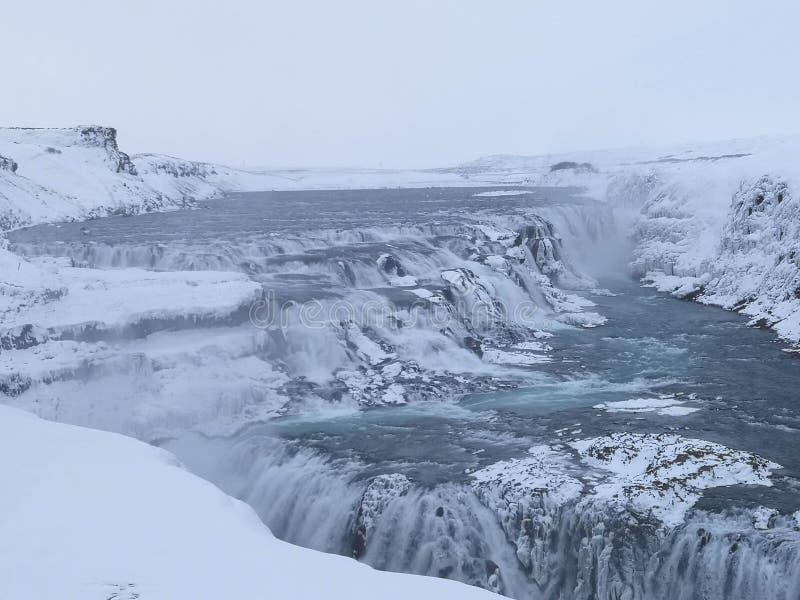 古佛斯瀑布瀑布在冬天 ?? 免版税库存照片