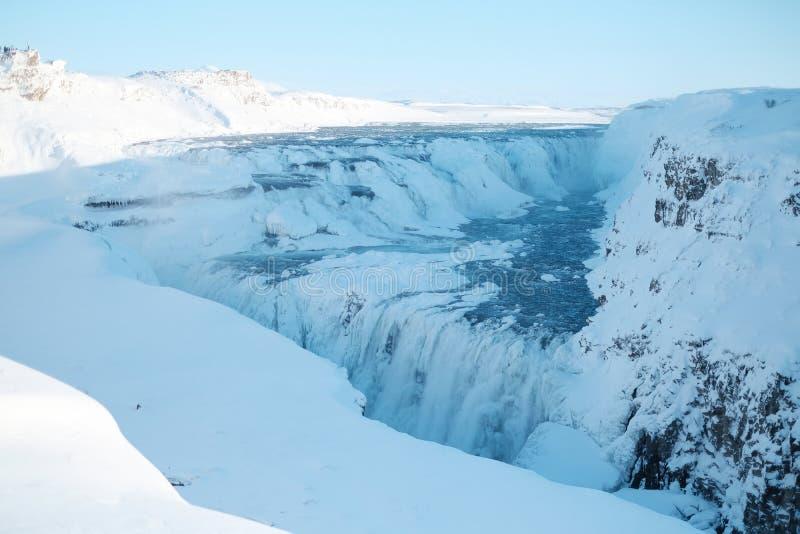 古佛斯瀑布瀑布在冬天 美丽的瀑布古佛斯瀑布,著名地标在冰岛 库存照片