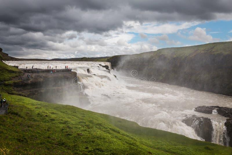 古佛斯瀑布瀑布金黄秋天在冰岛 图库摄影