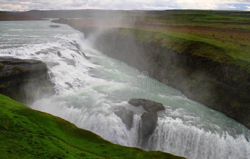 古佛斯瀑布瀑布,冰岛 库存照片