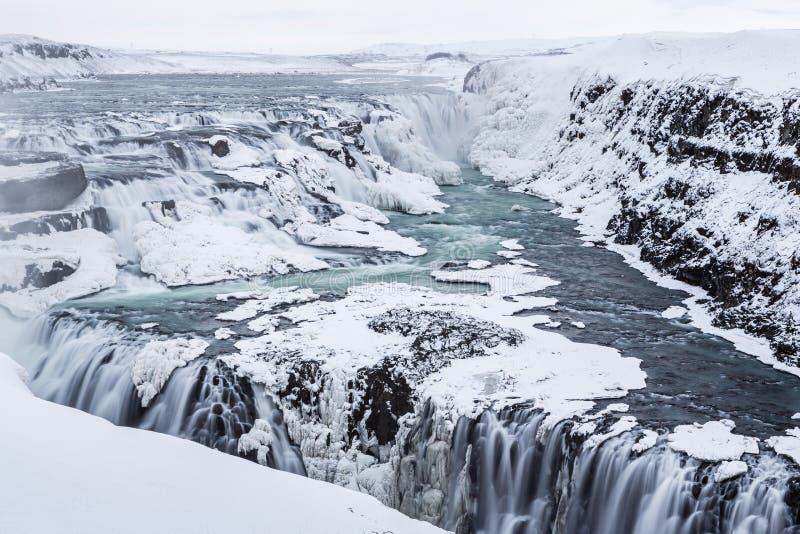 古佛斯瀑布结冰的雄伟 免版税库存图片