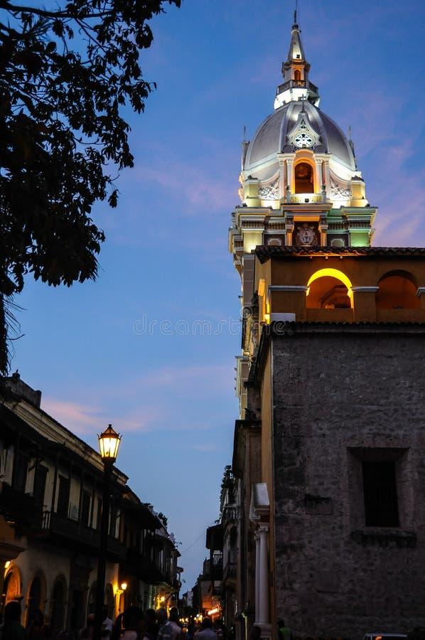 古典教会塔,卡塔赫钠de Indias Cultural市,哥伦比亚。 库存照片