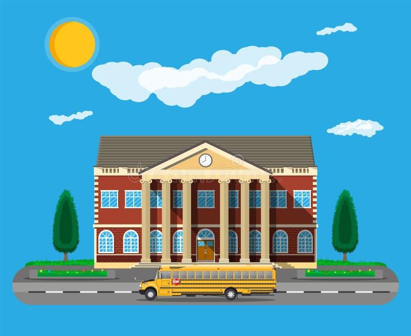 古典派大厦和校车 向量例证