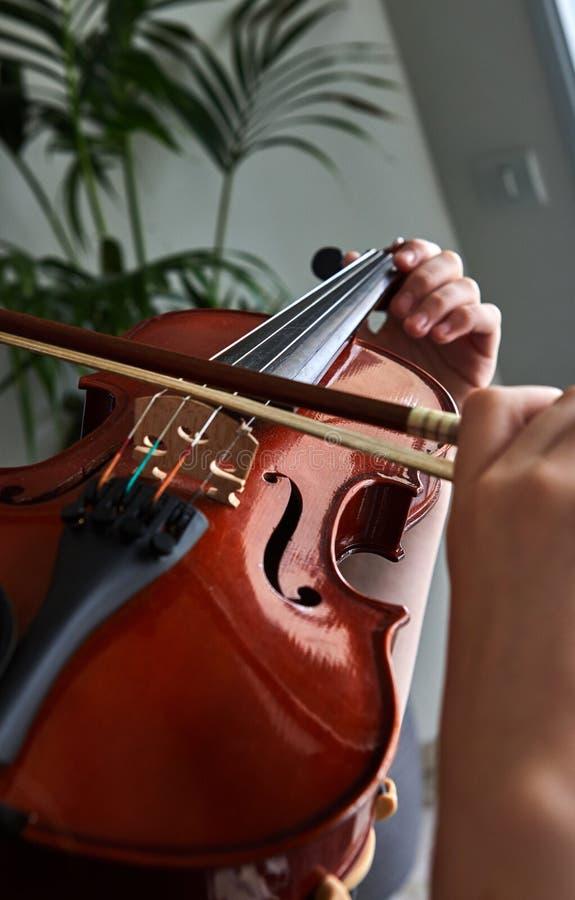 古典球员手 细节小提琴使用 免版税图库摄影