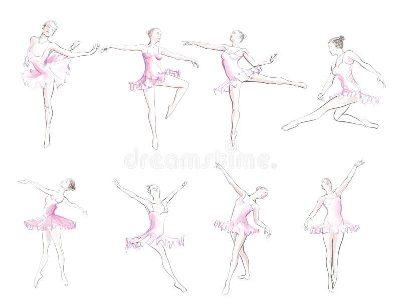 古典芭蕾妇女舞蹈家 向量例证