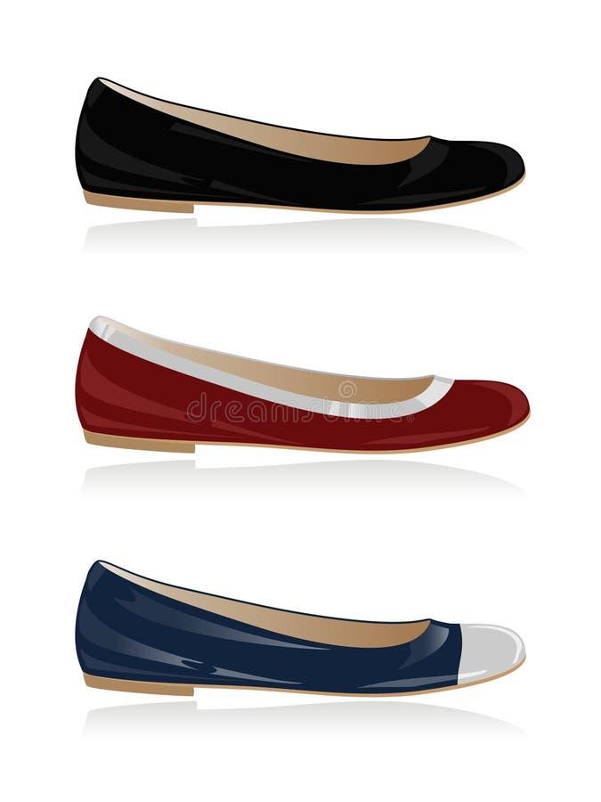 古典集鞋子妇女 库存例证