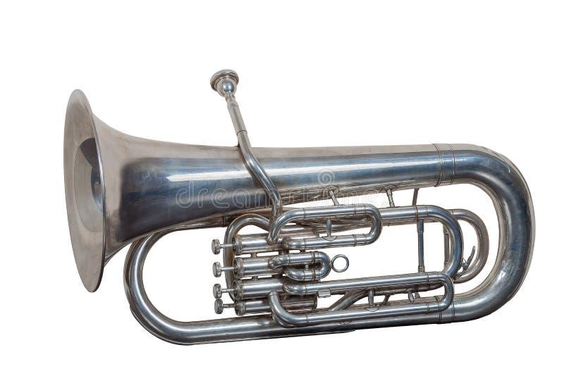 古典音乐在白色背景隔绝的铜管乐器次中音号 库存照片