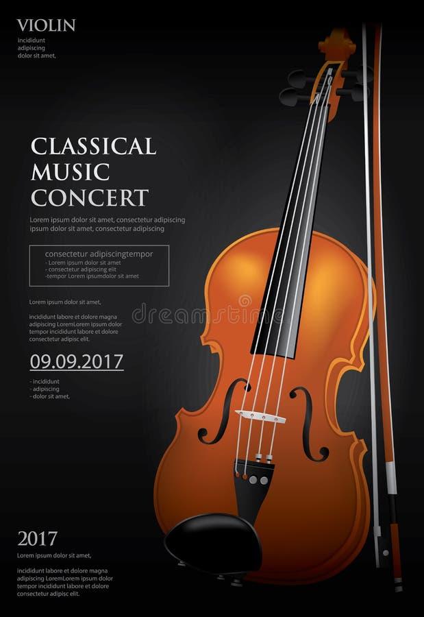 古典音乐概念小提琴 库存例证