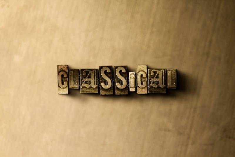 古典-脏的葡萄酒特写镜头排版了在金属背景的词 库存图片