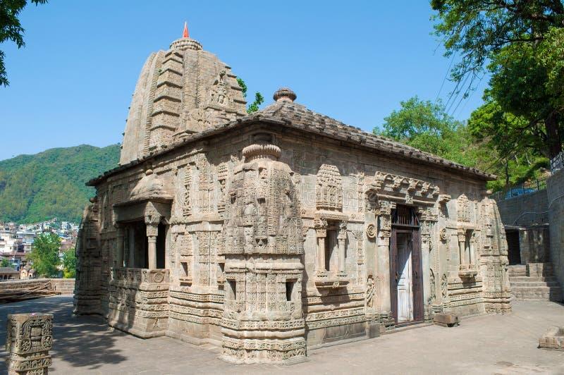 古印度教寺庙,阳光明媚的日子 印度曼迪 库存图片