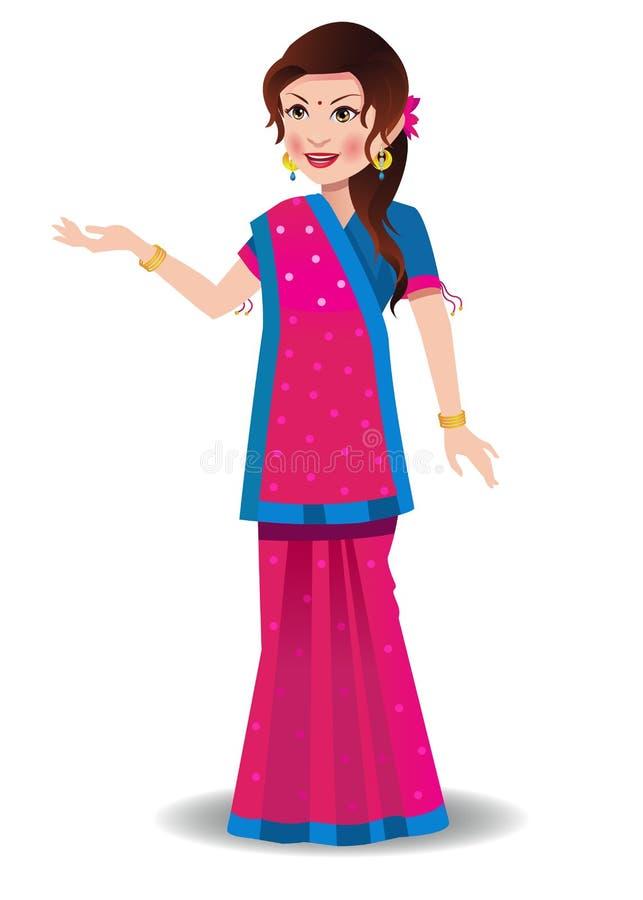 古吉特拉人莎丽服的印地安妇女 向量例证