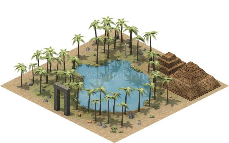 古埃及、绿洲和mastaba等量大厦在点心 3d翻译 库存例证