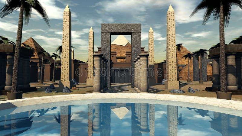 古埃及一绿洲和archtecture在点心 3d翻译 库存例证