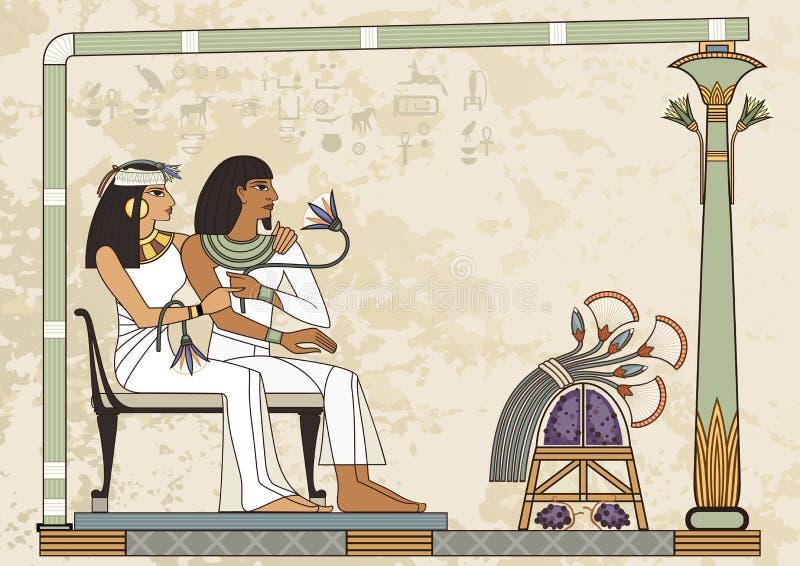古埃及横幅 埃及象形文字和标志 库存例证