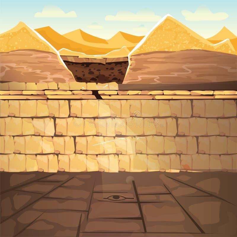 古埃及法老王地下失去的坟茔 库存例证