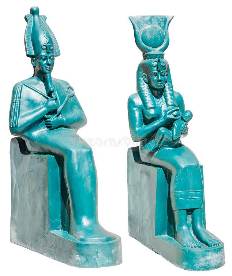 古埃及神Osiris和Isis雕象与Horus isola的 免版税库存图片